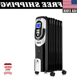 1500W Electric Filled Radiator Heater LCD 7-Fin Timer Safety