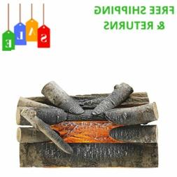 Pleasant Hearth Crackling Electric Fireplace Logs Real Wood