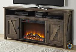 Fireplace Tv Stand Rustic Bedroom Electric Heater LED Flames