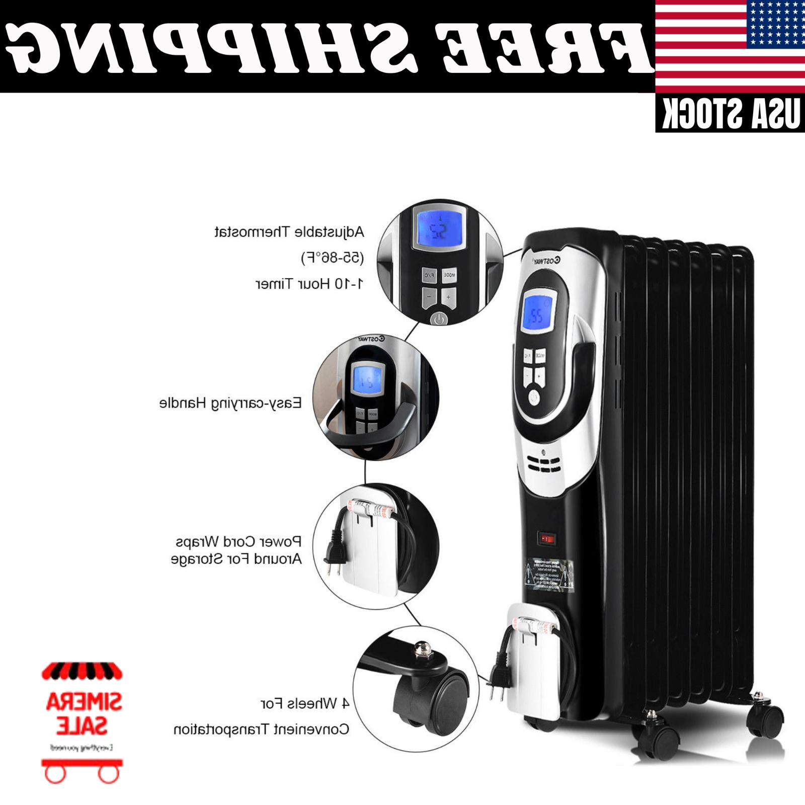 1500W Electric Radiator Heater LCD 7-Fin Safety Shut-Off