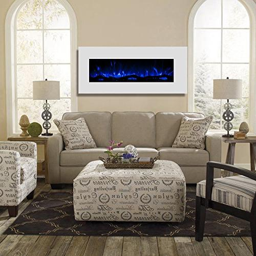 "Regal Flame Ashford White 50"" Ventless Electric Wall Mounted Better Than Wood Gas Logs, Fireplace Log Sets, Space Propane"