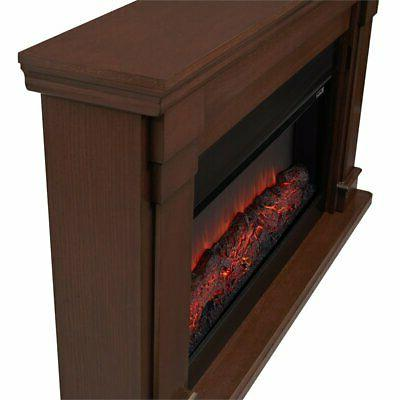 Real Flame Fireplace in Chestnut