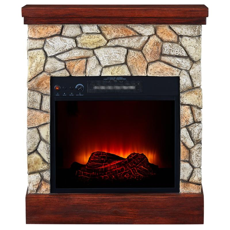 Electric Fireplace Real Flame Stone Stand Wall
