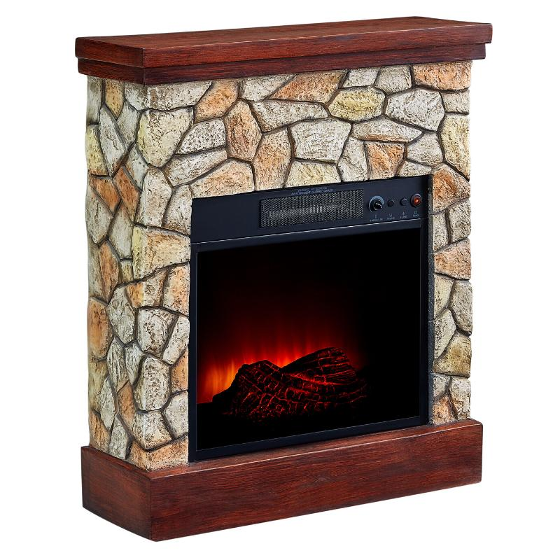 electric fireplace heater real flame stone mantel
