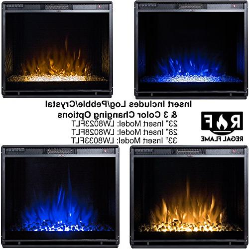 Regal Flame Flat Ventless Electric Fireplace Insert, Black - 3 Color Changing