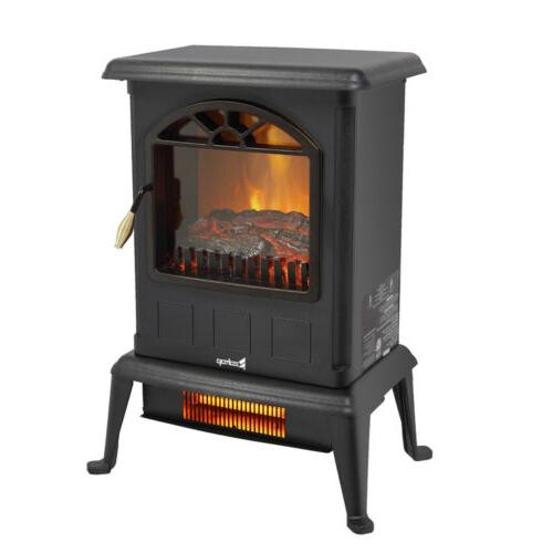 1500W Portable Electric Fireplace Stove  Space Heater Log Fl