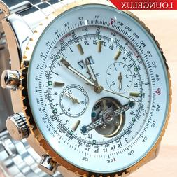 NEW Mens Flywheel Stainless Luxury Bling Skeleton Automatic